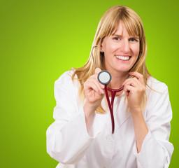 Happy Doctor Holding Stethoscope