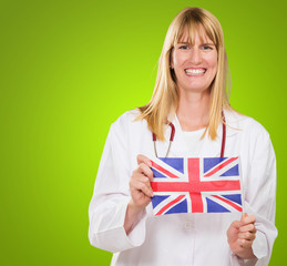 Happy Doctor Holding British Flag