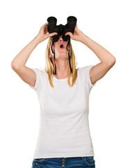 woman lookin up using binoculars
