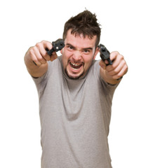 angry man aiming with guns