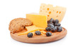 Cheeses on wooden