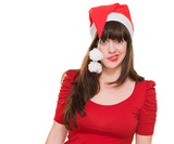 funny woman wearing a christmas hat