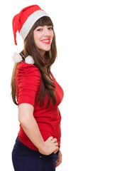 Beautiful happy woman wearing a christmas hat