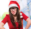 angry christmas woman wearing glasses