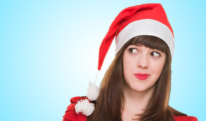 portrait of a worried christmas woman