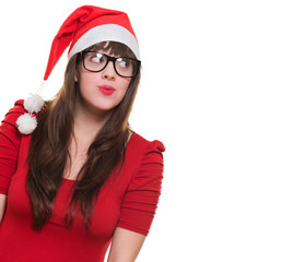 christmas woman wearing glasses and looking up