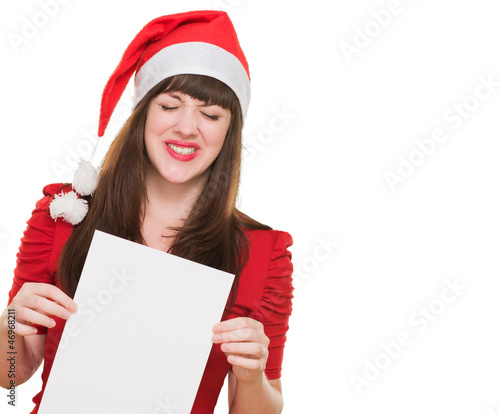 upset christmas woman holding a blank card