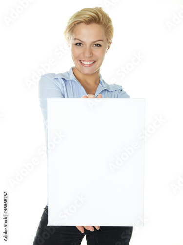 Blonde business woman with white message board