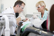 A male dentist and female dental nurse with a young patient