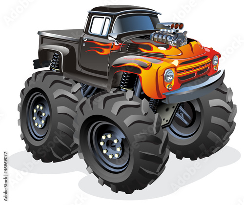 Foto op Canvas Cartoon cars Vector Cartoon Monster Truck