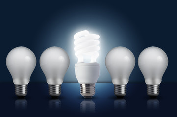 Incandescent light bulb in a row
