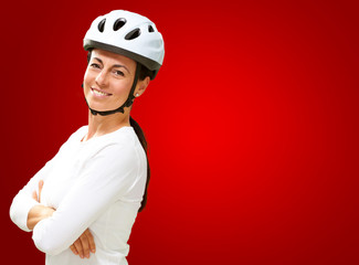 Woman Wearing Helmet With Hands Folded