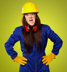 Woman Worker With Helmet