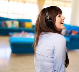 Happy Woman Wearing Headphone