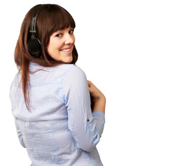 Happy Woman Wearing Headphone