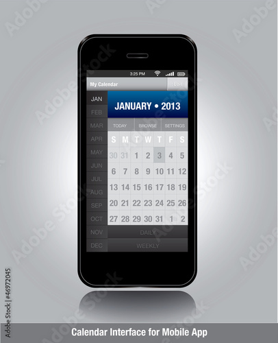 Smartphone with calendar template for mobile apps