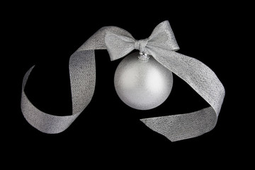 Christmas decoration silver ball on black