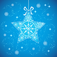 Christmas star with snowflakes blue
