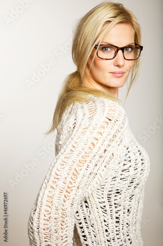 Gorgeous Lady with Eyewear in Side View