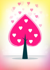 Card with hearts and tree on pink-yellow background.