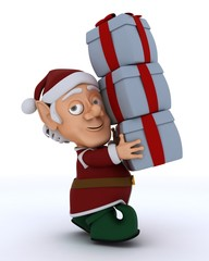 Christmas Elf Carrying Gifts