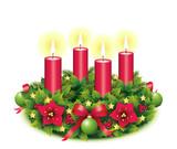 Vierter Advent / Adventskranz freigestellt