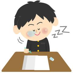 学ランの学生 テスト 居眠り