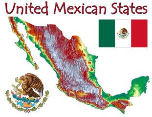 Mexico North America national emblem map symbol motto