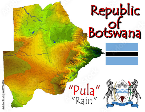 Botswana Africa national emblem map symbol motto