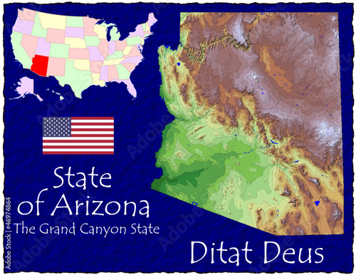 Arizona USA State map location nickname motto