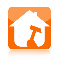 Home renovation icon with house and tool