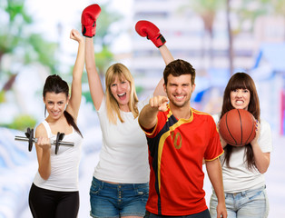 Group Of Sporty People