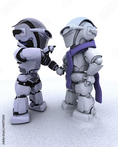 robot building a snowman