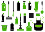Icons of accessories and means for cleaning