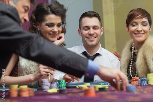 Amused group in a casino