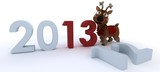 cute reindeer charicature bringing in the new year