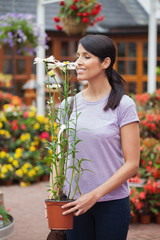 Woman smelling a daisy plant