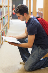 Student kneeling by bookshelf looking at book