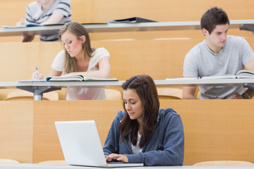 Students in a lecture with one using laptop