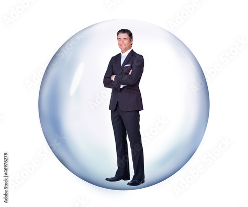 Businessman standing in a bubble while smiling