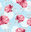 Seamless pattern with flowers  Floral background with roses and