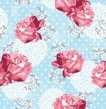 Fototapety Seamless pattern with flowers  Floral background with roses and