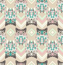 Nette Eule nahtlose Muster mit nativen Elementen