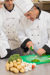 Chef teaching group how to slice vegetables