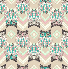Cute owl seamless pattern with native elements