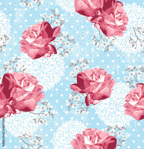 Naklejka Szwu z kwiatów Floral tle z róż i