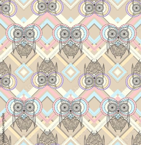 Sticker Cute owl seamless pattern with native elements