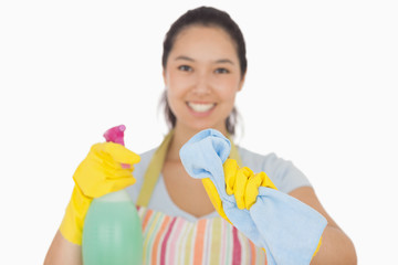 Happy woman wiping in front of her