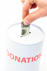 Hand donating money