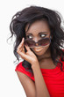 Woman wearing sunglasses while looking